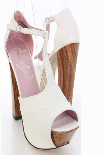 White Faux Leather T Strap Peep Toe Platform Chunky Heels / Sexy Clubwear | Party Dresses | Sexy Shoes | Womens Shoes and Clothing | AMI CLubwear