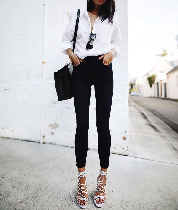 jeans tumblr skinny jeans black skinny jeans black jeans shirt white shirt bag black bag bucket bag sunglasses sandals sandal heels high heel sandals white sandals black and white