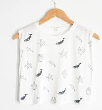 white t-shirt top crop tops sea of shoes whales stars blue dress