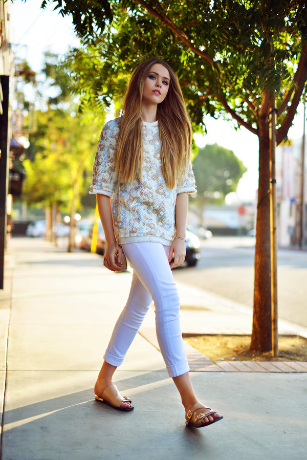 kayture blogger bag jemper white pants