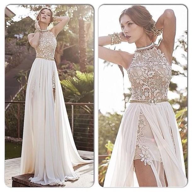 Formal long white dresses