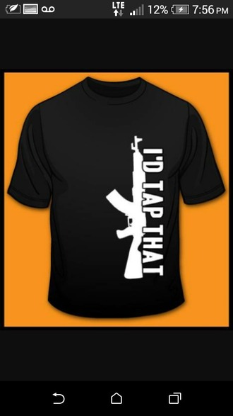 shirt black cool gun