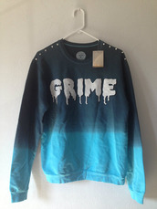 sweater,pullover,long sleeves,shirt,black,blue,grime,atuds,punk,goth,grunge,cotton,dark,gore,white,letters,winter outfits,fall outfits,blur,sweatshirt