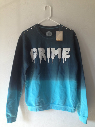 sweater pullover long sleeves shirt black blue grime atuds punk goth grunge cotton dark gore white letters winter outfits fall outfits blur