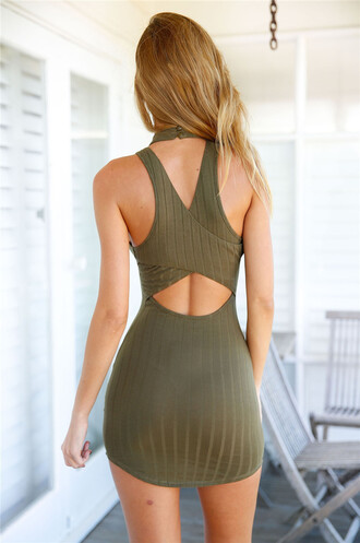 dress summer olive green bodycon dress party dress spring ogvibes summer dress mini dress green dress open back sexy dress