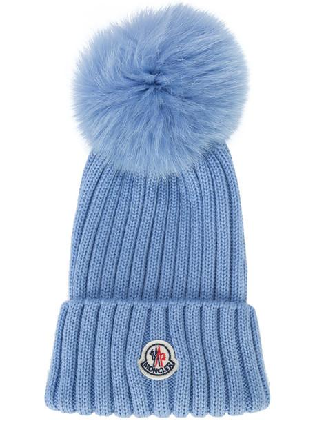 fur fox women hat beanie blue wool