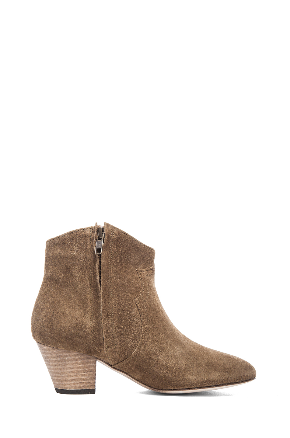Isabel Marant | Dicker Calfskin Velvet Booties in Brown