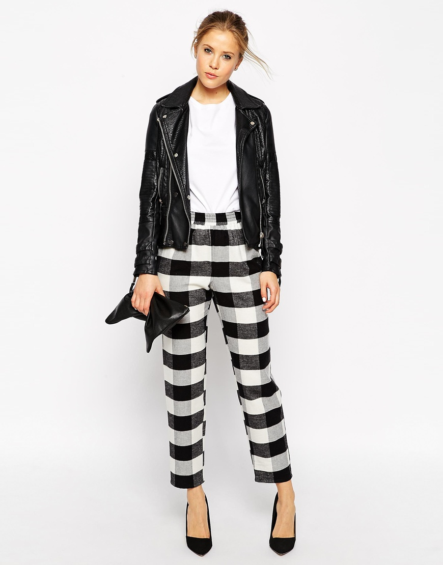 Asos fluffy peg trousers in gingham check at asos.com