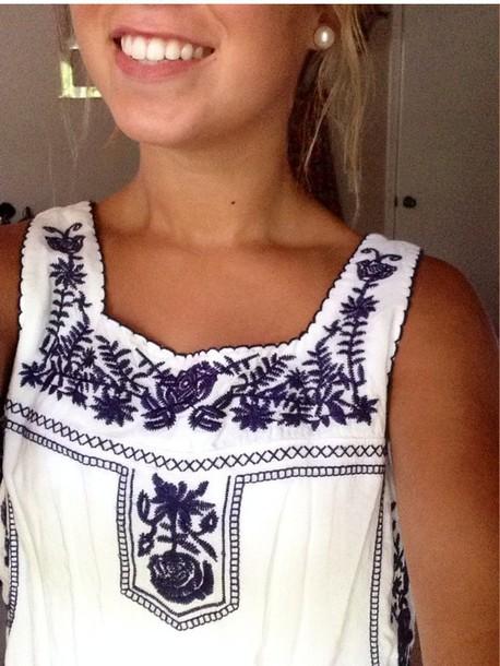 floral tank top tank top summer top shirt embroidered shirt
