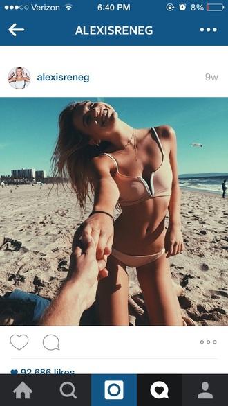 swimwear bikin set pink swimwear bikini alexisreneg bikini top tumblr instagram fashion beach cream