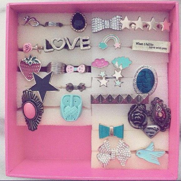 jewels jewelry ring bird bow owl diamond love fruit strawberry rainbow pink wings rose cute girly stars cloud superman