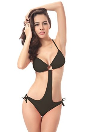 Pink queen® womens deep v neck hater one piece swimsuit monokini black at amazon women's clothing store: