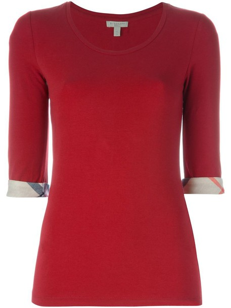 Burberry t-shirt shirt t-shirt women spandex cotton red top