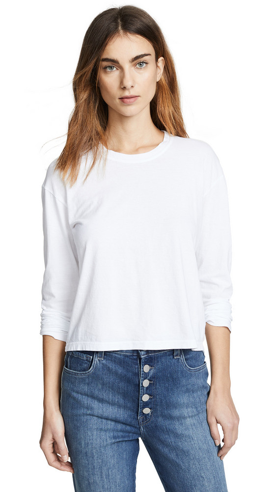 James Perse Vintage Boxy Long Sleeve Tee in white