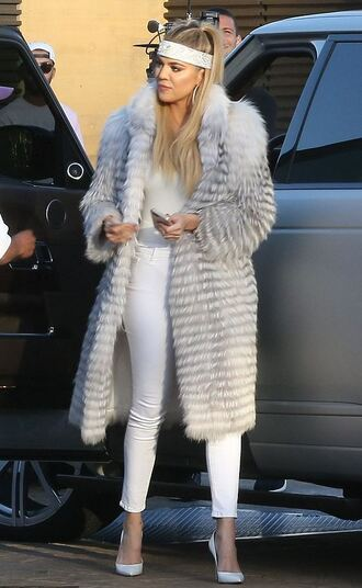 coat top fur white white jeans khloe kardashian kardashians keeping up with the kardashians pumps hair accessory bandana