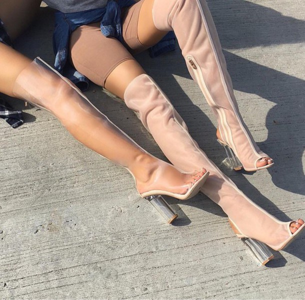 c82097ba1f shoes heels thigh high boots thigh highs see through mesh peep toe boots  clear shoes transparent