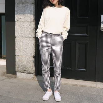 pants black and white gingham pale