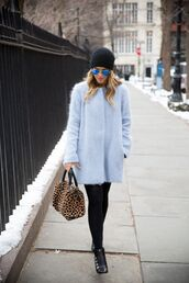 coat,tumblr,opaque tights,tights,black tights,bag,animal print bag,animal print,leopard print,blue coat,fuzzy coat,fluffy,beanie,black beanie,sunglasses,mirrored sunglasses,boots,black boots,ankle boots,winter outfits,winter look,winter coat,blue fluffy coat