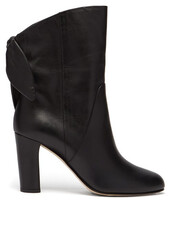 bow,leather boots,leather,black,shoes