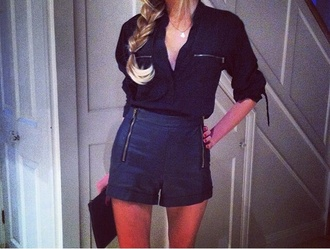 leather shirt shorts outfit black blouse skirt urban outfitters topshop fashion ste ootn look book look book night day clubwear drinking fashionable girl blonde hair drinks alcohol zara haul youtube guru