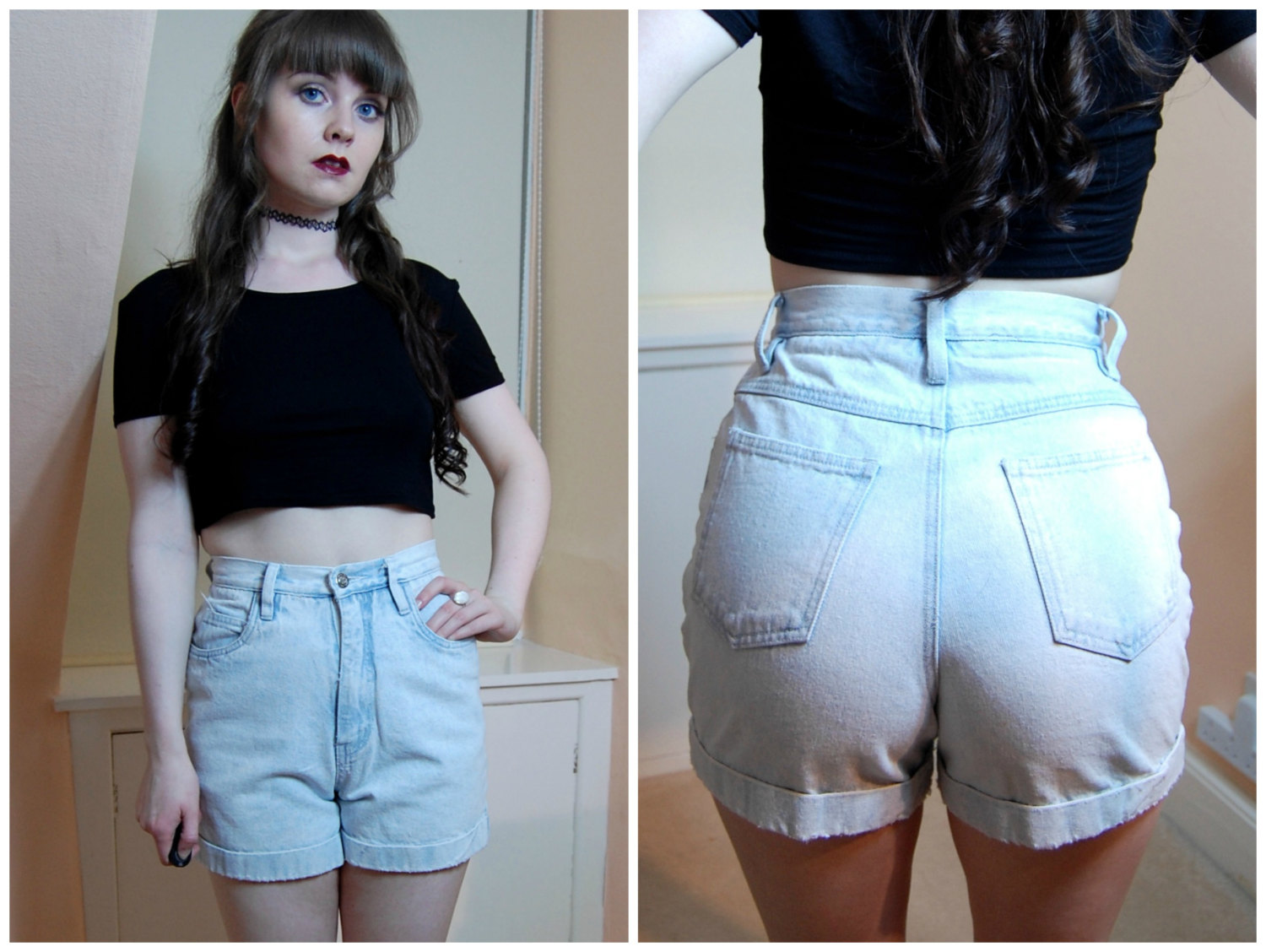 90s Grunge Light Wash Blue Denim High Waist Denim Shorts XS