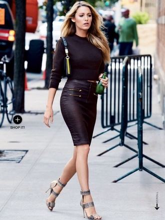 skirt blake lively sweater leather feshion black leather pencil skrit pencil skirt shirt blake lively dress all black everything shoes leather pencil skirt black sweater half shirt blouse