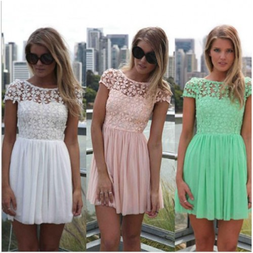 Cap sleeeve lace top flowing bottom dress...