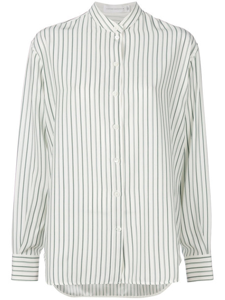 Victoria Beckham shirt striped shirt women white silk top