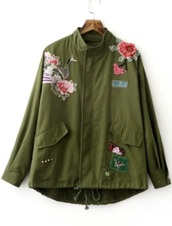 jacket,green embroidered