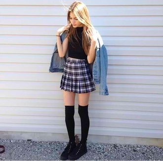 shirt skirt crop tops denim jacket grunge soft grunge hipster plaid skirt knee high socks black shoes jacket shoes socks