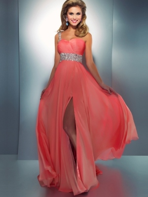 Buy Enhancing Coral A-line One-shoulder Neckline Sweep Train Split Prom Dress under 200-SinoAnt.com