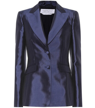 blazer silk wool blue jacket