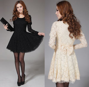 Fashion Korean Women's Long Sleeve Spoon Neck Lace Cocktail Party Mini Dress | eBay