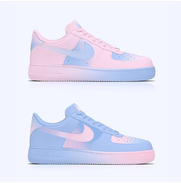 new styles a1032 3cee2 shoes nike nike air force 1 pink blue nike shoes custom shoes low top  sneakers