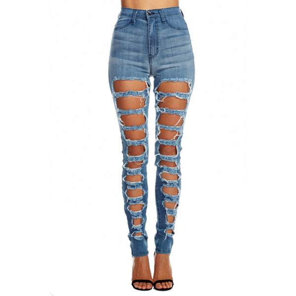 Hi-rise Square Destructed Denim Jeans | Emprada