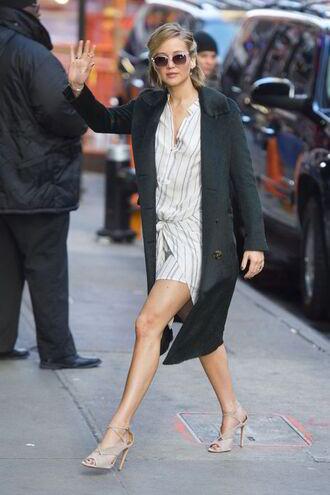 strappy heels heels shirt dress jennifer lawrence long coat