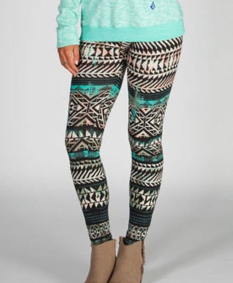 mint green pants tribal aztec print