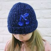 hat,kids fashion,beanie,blue,sequins,girls hat,wool hat,donegal,cherry,embellished,etsy,etsy store,cool hats,fashion hats,hatsandotherstories