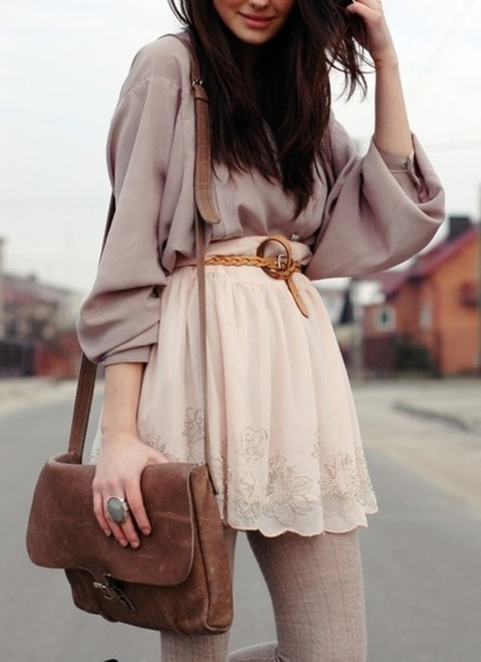 Skirt Cute Girly Tights Belt Bag Clothes Pinterest