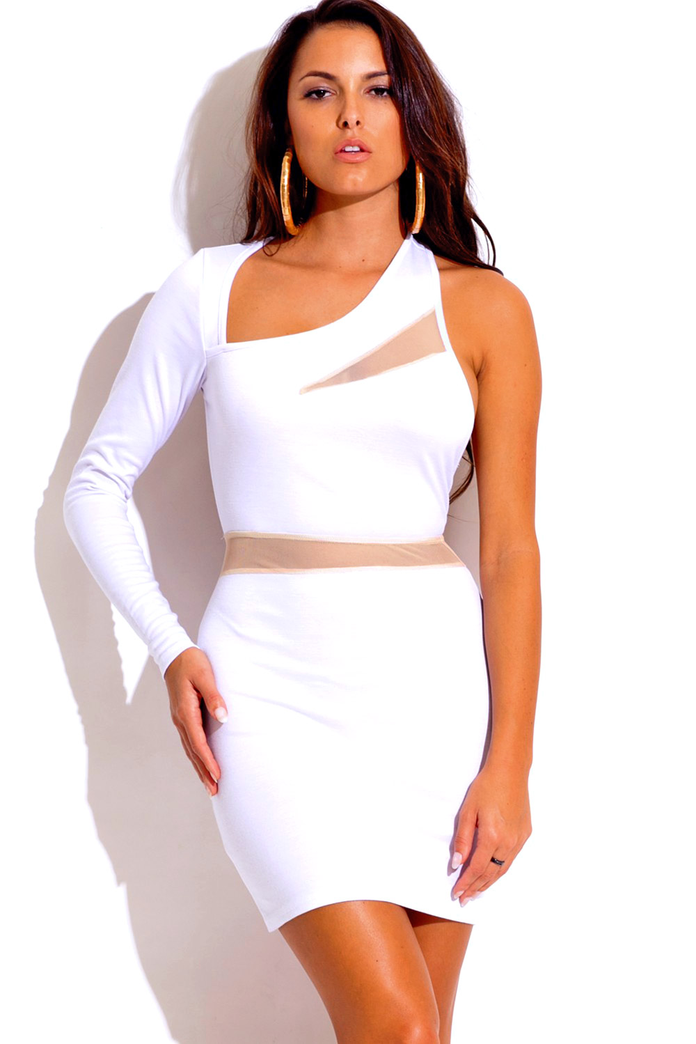 Snow white cut out backless asymmetrical long sleeve mesh inset fitted bodycon club mini dress