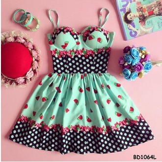 dress polka dots watermelon print mint