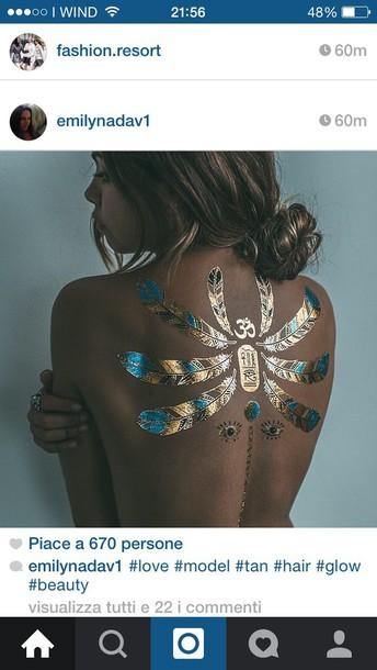 jewels tattoo blue aqua gold gold feathers turquoise stones eyes tan summer arabic temporary tattoo