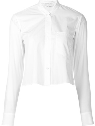 shirt button down shirt cropped white top