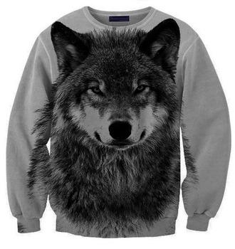 sweater wolf hipster grey black hoodie animal print
