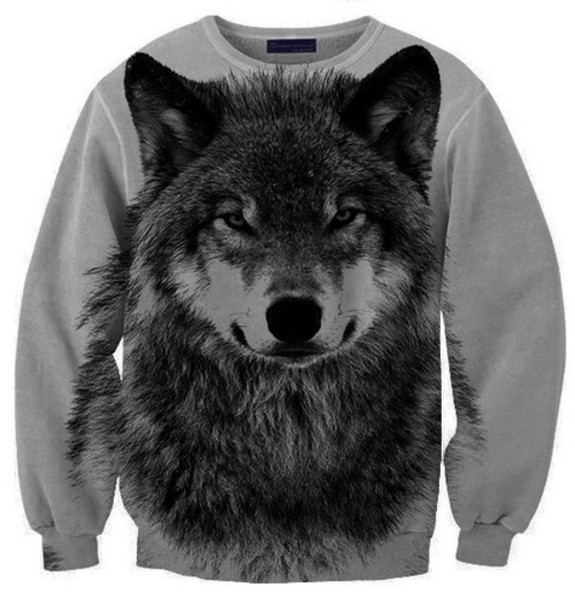 sweater wolf hipster grey black hoodie animal print grey