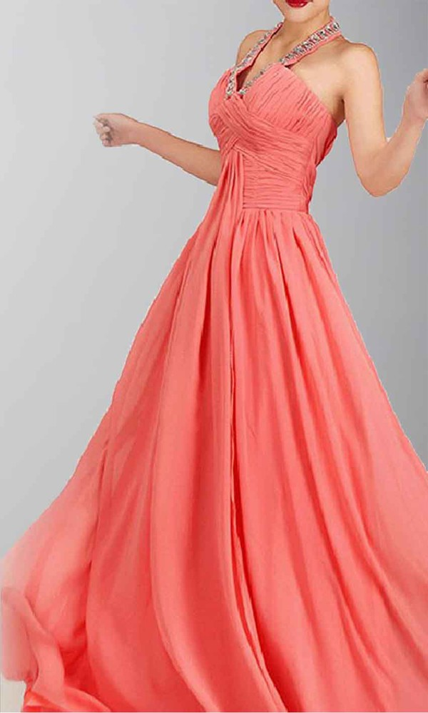 long prom dress long formal dress halter dress coral pleats full length prom dress