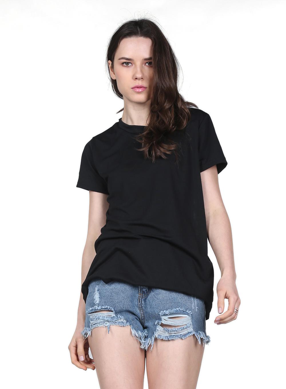 Black Short Sleeve Back Hollow Wing T-Shirt - Sheinside.com