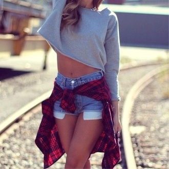 shorts top clothes tumblr outfit tumblr clothes checked shirt