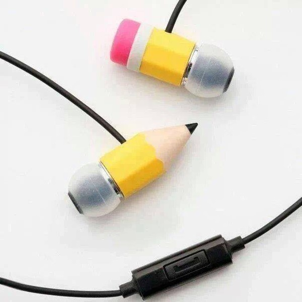earphones pencils penc pencils pecil earphones cute creative fashion hipster yellow pink