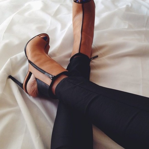 shoes high heels brown shoes peeptoe boot heels brown boots heels black